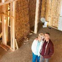 couple at home construction site