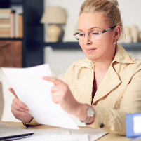 woman looking at E-statement